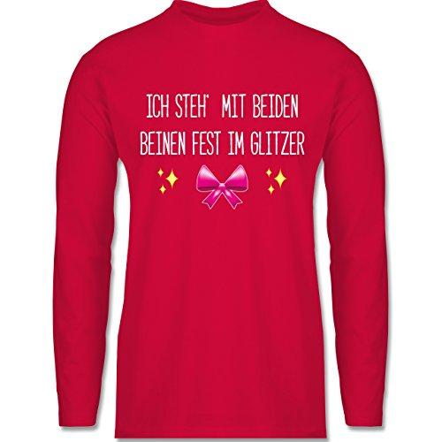 Statement Shirts - Ich steh' mit beiden Beinen fest im Glitzer - Longsleeve / langärmeliges T-Shirt für Herren Rot