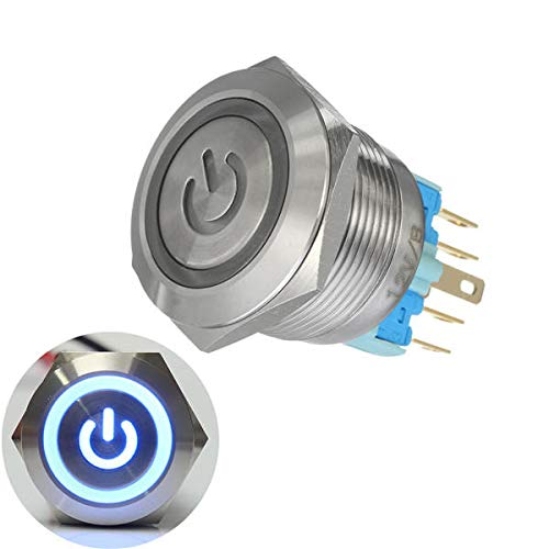 RanDal 12V 6 Pin 22Mm Push Button Momentary Switch With Led Light - Blau -