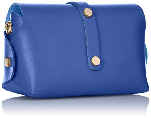 Pochette Donna Spalla Ctm, Borsa Piccola Con Tracolla, Vera Pelle In Italia - 18x11x9 Cm Blu (blu)