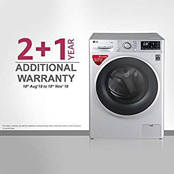 LG 8 kg InverterFully-Automatic Front Loading Washing Machine (FHT1208SWL, Luxury Silver, Inbuilt Heater)