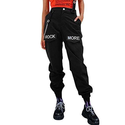 Weant Damen Hosen Sporthose Frauen Casual Gliederkette Street Wear Lose Sweathose mit Taschen Elastischer Bund Jogginghose Yogahose Leggings Lange Hüfthose Sporthose Trainingshose -