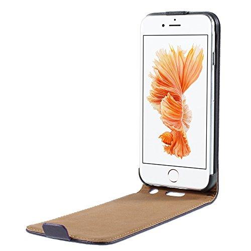 Handyschutzhülle für iPhone 6S, 6, Echt-Leder, schmale Klapphülle, Öffnung nach unten, Pink + 2Displayschutzfolien, Leder, rosa - soft pink, iPhone 6S/6 violett