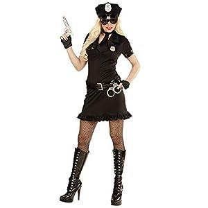 WIDMANN 49462?Adultos Disfraz Agente de Policía, Vestido, cinturón, Sombrero, Esposas y de walkie Talkie, Negro, Tamaño M