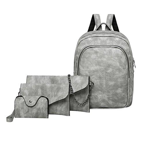 n 4 Teilig,LUCKDE Umhängetasche Kleine Rucksäcke Business Taschen Clutches Strandtaschen Tote Taschen Damentasche Hobo Bags Abendtaschen Shopper (Graue) (Graue Tote Bag)