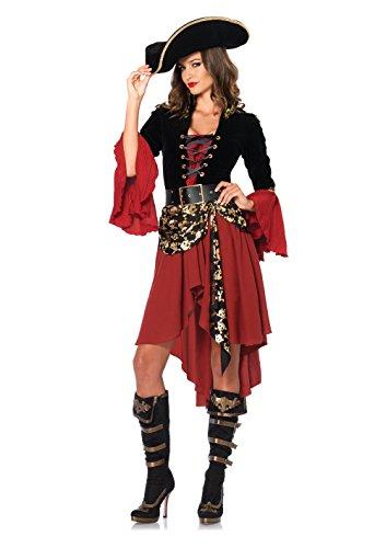 Kleid Sexy Für Totenkopf Erwachsene Kostüm - LEG AVENUE 85214 - Cruel Seas Captain Kostüm Set, 2-teilig, Größe S, schwarz/burgundy