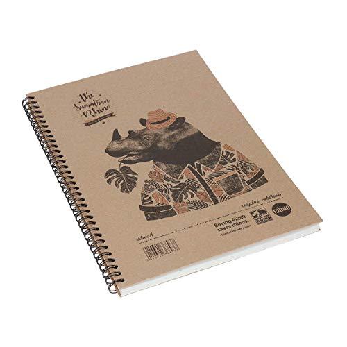 Rhino Recycled Save the Rhino Notizblock, A4, liniert, Hardback, 160 Seiten Mag Hardback