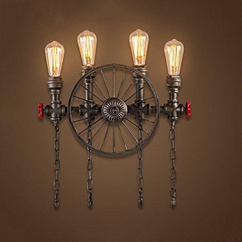 LIUYU Schmiedeeisen Getriebe Wasserleitungen Wandleuchten, Studyroom Schlafzimmer Bar Wohnzimmer E27 Lichtquelle 2 Kopf und 4 Kopf,4 (Halskette Getriebe)