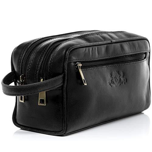 SID & VAIN Kulturtasche echt Leder GATWICK groß Kulturbeutel Necessaire Lederbeutel Unisex schwarz