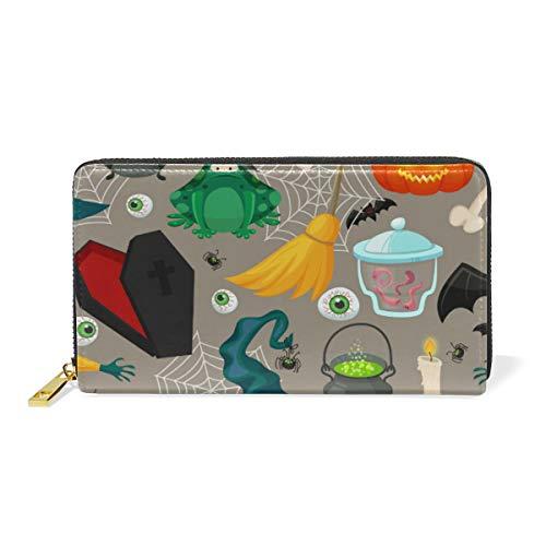 XiangHeFu Frauen Geldbörse Terror Halloween Hexe Hut Kürbis Augapfel Muster Handtasche Reißverschluss Leder
