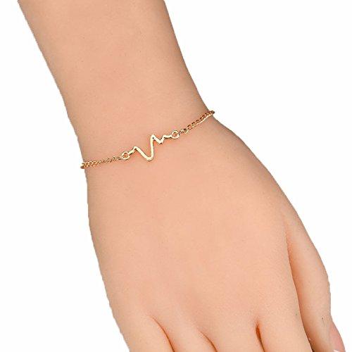 LFF Paar Herzschlag Frequenz Armband Unisex Schmuck Einfache Charakter Design EKG Blitz Armband,Golden,Einheitsgröße