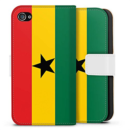 Apple iPhone 6 Silikon Hülle Case Schutzhülle Ghana Flagge Fußball Sideflip Tasche weiß