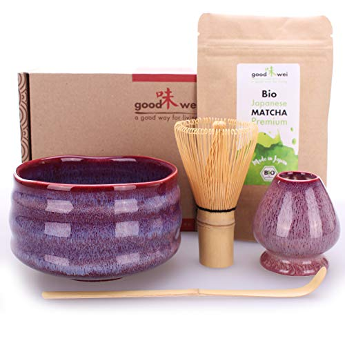 Teezeremonie-Set mit hochwertiger Matcha-Schale und echtem Bio Matcha aus Japan (Seiun)
