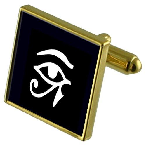 Ojo de Horus dios egipcio de tono Oro gemelos Crystal Gift Set Clip de corbata