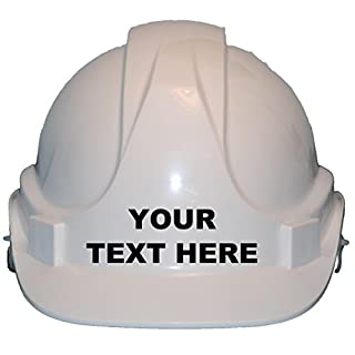 Personalised Bespoke With Own Wording Children, Kids Hard Hat Safety Helmet With Chin Strap One Size Adjustable Suitable for 4-12 Years -White
