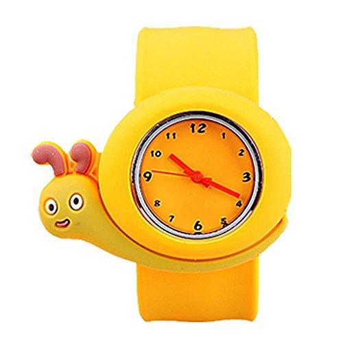 MMRM niños reloj de pulsera de silicona Animal lindo del dibujo animado reloj de cuarzo de Navidad regalo(Caracol)