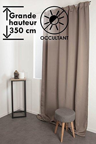 Rideau Occultant 140 x 350 cm Grande Hauteur à Galon Fronceur Matière Soyeuse Uni Taupe