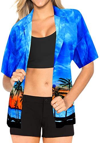 LA LEELA Taste nach unten Luau Geschenk f�r Frauen Bademode Abdeckung unter Hawaiianer kurzen �rmeln s up - Womens Bademode-abdeckung