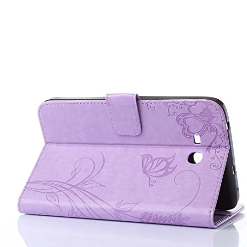 SRY-Mobile Fall Samsung Samsung Tab 3 Lite 7.0 Zoll T110 T111 Fall Abdeckung, Retro Folio Flip Stand Fall Geprägte Blumen Schmetterling Muster Fall mit Wallet Card Slots für Samsung Tab 3 Lite 7.0 Zoll T110 T111 ( Color : Light Purple , Size : T110 T111 )