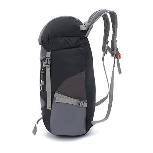 Faltbarer Rucksack, DeerRanTec Ultraleicht 35L Wasserdichter Nylon Trekkingrucksack für Damen Herren Daypack Reiserucksack ideal für Outdoor Wandern Camping Reisen Trekking Schwarz