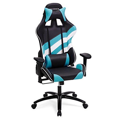 SONGMICS Gaming Racing Chaise Fauteuil de Bureau Chaise de Bureau avec accoudoir réglable, Support Lombaire, Appui-tête 66x 72x 124–132cm Rcg37buuk