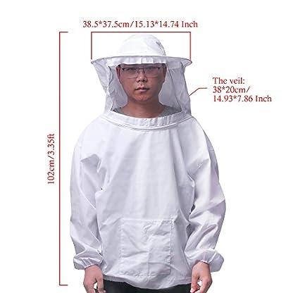 ALLOMN Beekeeping Suit Set Beekeeper Tools Beekeeping Equipment with Breathable Suit Jacket Long Sleeve Gloves Bee Hive Brush J Hook Hive (Set of 4 PCS) 6