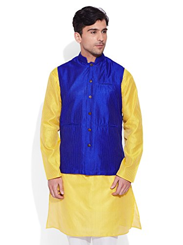Very Me Men's Designer Blue Faux Silk Textured Nehru Jacket Size:- 42 / Xl  available at amazon for Rs.999