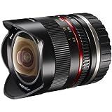Walimex Pro 8mm 1:2,8 Fish-Eye II CSC-Objektiv (Bildwinkel 180 Grad, MC Linsen, große Schärfentiefe, feste Gegenlichtblende) für Sony E-Mount Objektivbajonett schwarz