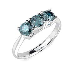 Idea Regalo - Anello Trilogy in oro bianco con diamanti blu 0,80 carati e Oro bianco, 54 (17.2), cod. MSR0153.7