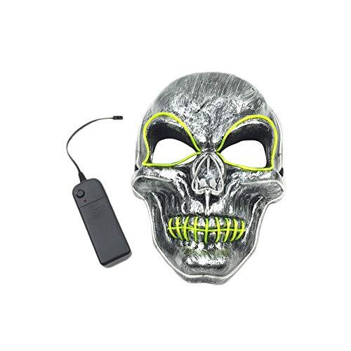 (XuBa Kinder Erwachsene, LED-Beleuchtung, Totenkopf-Gesichtsmaske blinkend, Leuchtend, Halloween-Kostüm, Party-Dekoration)