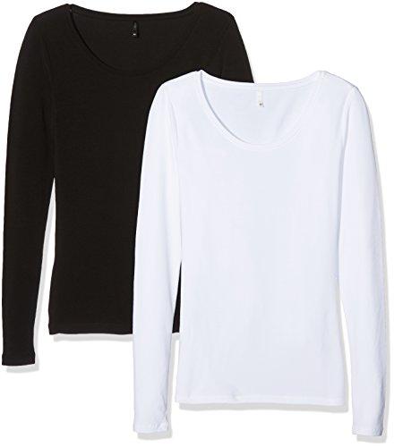 Only Damen Langarmshirt, 2er Pack Mehrfarbig (Black Pack:Black And White)