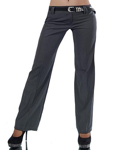 L293 Damen Business Stoffhose Elegante Bootcut Hose Classic Schlaghose + Gürtel, Farben:Steingrau;Größen:38 M (Etikett T3)