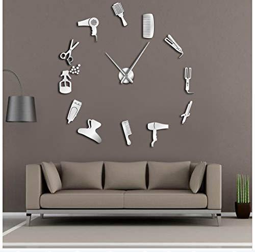 Menddy DIY Peluquería Reloj De Pared Gigante con Efecto Espejo Juegos De Herramientas para Barbero Reloj Decorativo Peluquero Arte De La Pared del Peluquero De Plata 37 Pulgadas