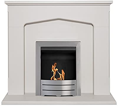 Adam Cotswold Fireplace Suite in Stone Effect with Colorado Bio Ethanol Fire Brushed Steel, 48 Inch