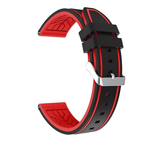 Fmway 22mm Silikon Uhrenband Ersatzarmband mit Edelstahl Metall Schließe für Samsung Galaxy Watch 46mm / Gear S3 Frontier/Gear S3 Classic/Moto 360 2. Generation 46mm / Amazfit (Schwarz + Rot) (Watch 360 Band Moto Metall)
