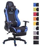 CLP Bürostuhl Relaxsessel TURBO, Stoff-Bezug, Fußablage ausziehbar, max. belastbar 150 kg, Gaming Stuhl schwarz/blau