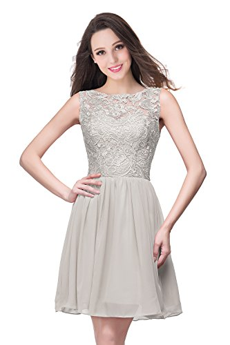 Misshow Damen Abendkleid Elegant Cocktailkleid Ärmellos Feinen Spitzen Kurz Party Prom Dress