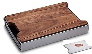 PROFI Schneidbox mit Küchenbrett aus Nussbaum + Kunststoff-Brett ✓ Auffangbehälter ✓ Messerschonend | Massives Schneidebrett aus Holz mit Auffang-Schale