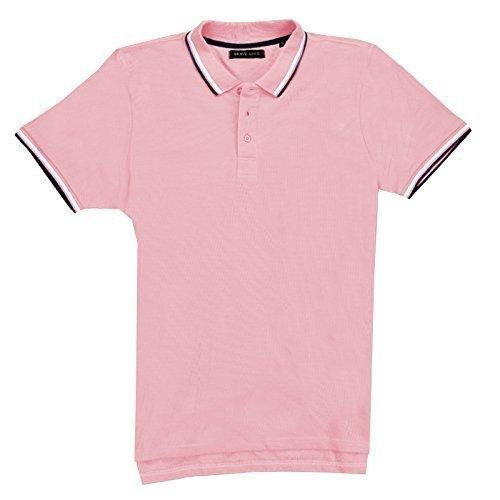 Herren Brave Soul Pavlov Polo Shirt Kragen Kurzärmelig Baumwoll Piqué T-shirt Top Pale Rosa-Navy