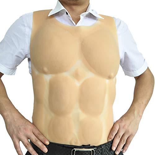 DMCR Tragbar Fälschung Männlich Brust Bauchmuskeln Muskel Persönlichkeit Kleidung Pseudomännchen Transsexuelle Silikon Muskel Weste Cosplay Requisiten 4 Gurte Befestigt,Flesh