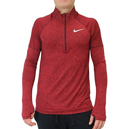 Nike Herren M NK ELMNT HZ 2.0 Long Sleeved T-shirt, Rot (night maroon/Gym red/Reflective/681), M - Nike Langarm