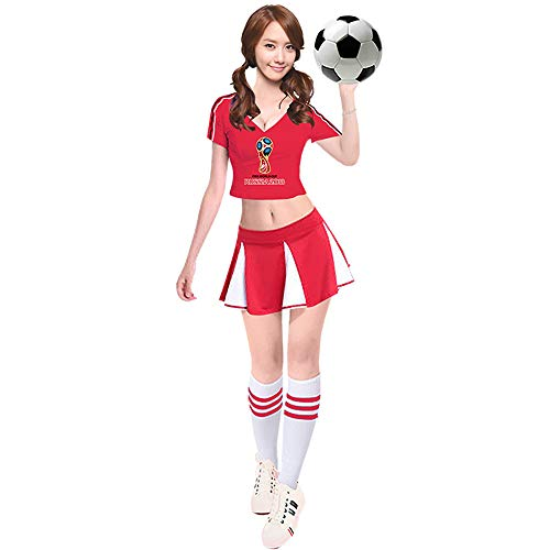 ZQ Sommer Fußball Baby Uniformen Cheerleader Kostüm Fußball Frauen Kostüme Basketball Cheerleader Kostüme Kostüm für Erwachsene,Red,XL (Glee Musik-buch)