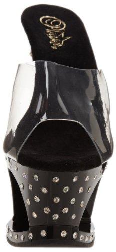 Pleaser MOON-701SDT Damen Plateau Pumps Transparent (Clr/Blk)