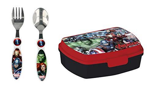3 TLG. Kinder Set Lunch Box Brotdose + Gabel + Löffel Geschirr - wählbar: Cars Blaze Spiderman Avengers Incredibles Paw Patrol Star Wars Geschenk für Jungen (Avengers)