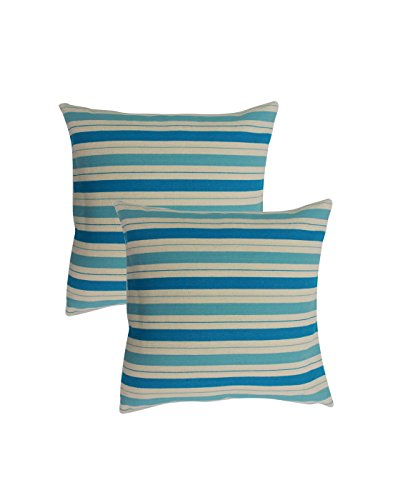 Blueberry Home Decorative Set of 2 Stripe Design Cotton Blue Cushion Covers