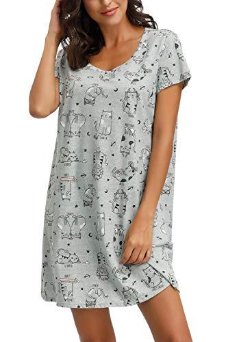 Zexxxy Nachthemd Damen Kurzam Rundhals Nachtwäsche Negligee Pyjama Kleid Schlafshirt Grau XL