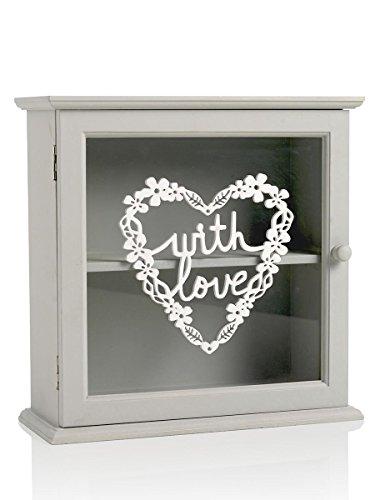 MONTEMAGGI Vetrina con mensola in legno grigio e vetro decorato. In stile shabby. Dimensioni: 25x10x25 cm