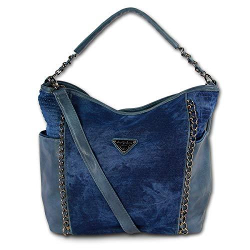 Modische Schultertasche Umhängetasche Handtasche Jeans Denim 3 Farben 4533 (Dunkelblau)