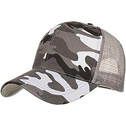 LMMVP Sombrero Sombreros de Malla de Verano Gorro de Camuflaje para Hombres Mujeres Casual Sombreros de Hip Hop Béisbol Gorras (B)