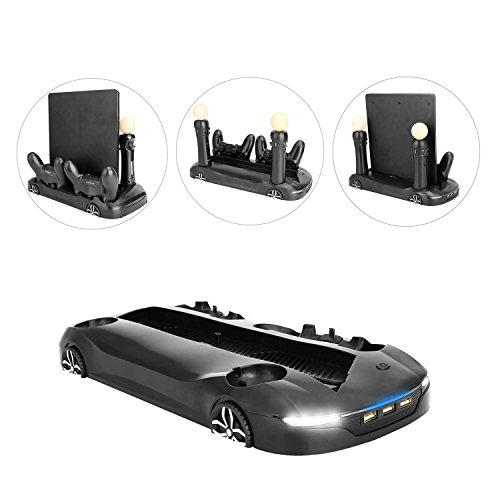 Price comparison product image KOBWA Creative Roadster Shape Multifunctional Vertical Stand for Sony PS4 Pro / Slim Game Console with Cooling Fan Dualshock 4 Move Motion Controller Charging Station 3 Extra HUB Ports - Black