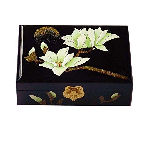 Holz Aufbewahrungsbox schwarz Vintage handgemachten Schmuck Box mit Schloss